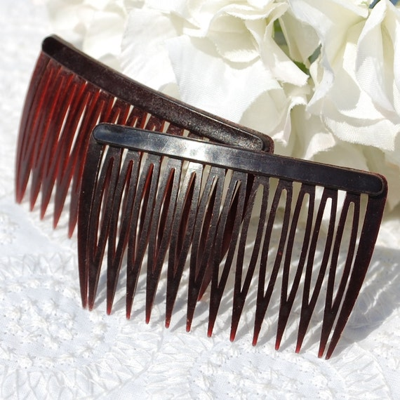 Vintage Hair Comb Set, Brown Celluloid, USA, 1950s 1960s Mid Century Mad Men, Fall Autumn Accessory Jewelry