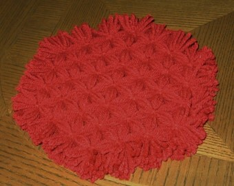 Sale Clearance - Handmade Loomed Trivet in True Cardinal Red Yarn  Includes shipping!