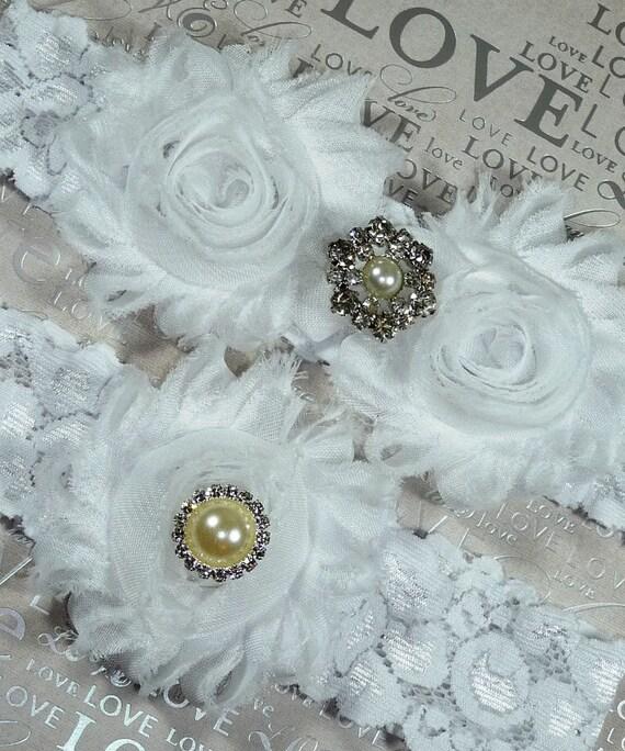 White Wedding Garter: Items Similar To White Wedding Garter Set