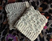 Tweed Scalloped Lace Pattern Crochet Handmade Sweater Boot Cuffs / Toppers