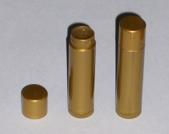 25 NEW Empty Golden Pearl LIP BALM Gold Chapstick Tubes Containers .15 oz / 5ml
