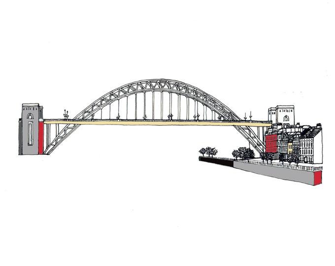 Limited Edition Giclee Print - Tyne Bridge & Quayside, Gateshead and Newcastle.