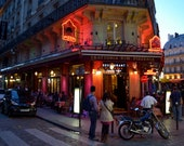 Parisian French Cafe in Latin Quarter at Night 4 x 6 and Larger Sizes Photograph of Paris, France