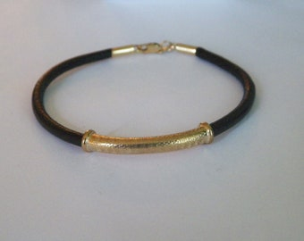 4mm Leather Cord Bracelet Bangle With .925 Sterling Silver Tube-14k Gold Plate