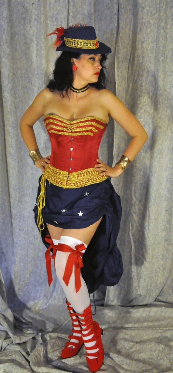 Model Womenu0026#39;s Sexy Wonder Woman Sequin Skirt Costume - SuperHeroes Costumes