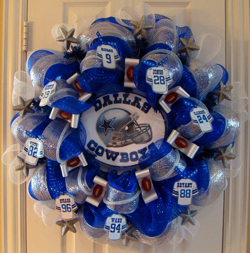 Dallas cowboy fan wreath for Dallas cowboys arts and crafts