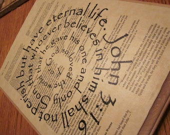 "John 3:16 Spiral Scripture Bible Verse on Wood Plaque ""For God so loved the world that He gave His one and only Son..."""
