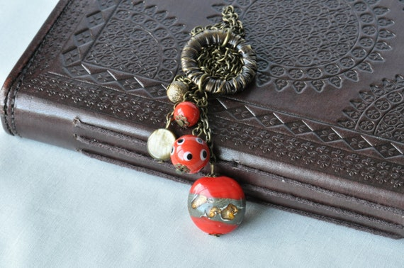 Red & Bronze Lampwork and Glass Bead Necklace UK Seller