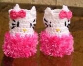 Hello Kitty Fingerless Gloves.   Crochet Hello Kitty Gloves. Toddler size. Crochet  Baby Gloves. Hot Pink.