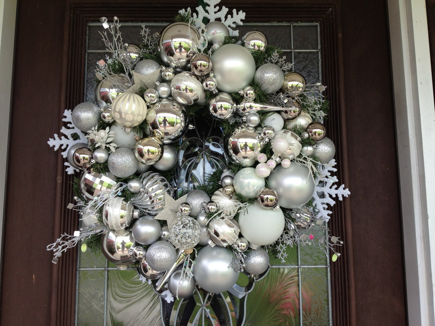 Silver and white christmas ornaments wreath Christmas wreath decorations