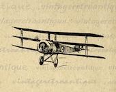 Digital Graphic Vintage Airplane Download Triplane Image Antique Printable Clip Art for Transfers etc HQ 300dpi No.127