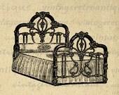 Digital Graphic Antique Bed Image Illustration Printable Download Vintage Clip Art for Transfers Printing etc HQ 300dpi No.1135