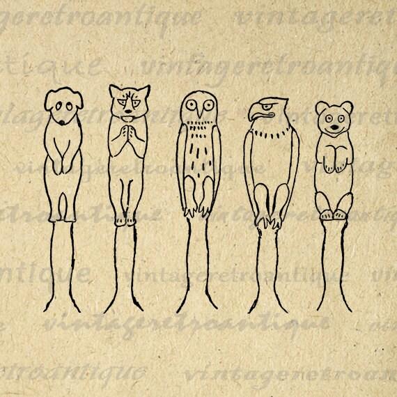 Printable Animal Totem Poles Digital by VintageRetroAntique