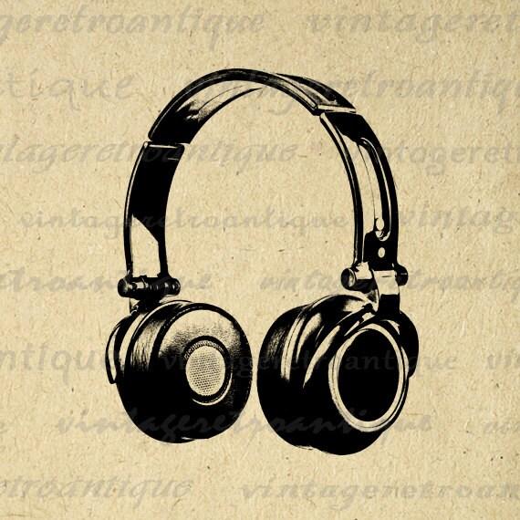 Headphones Printable Digital Download Music By