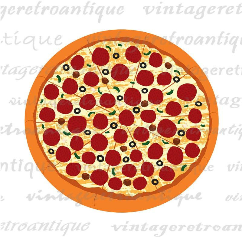 Printable Graphic Pizza Digital Vector by VintageRetroAntique
