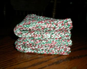 Red Green and White Knit Dish Cloths Set of 2/Christmas Colors Knit Dish Cloths Set of 2
