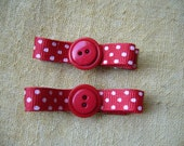 red polka dot bow clips