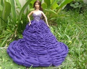 Evening purple dress style for Fashion Barbie Royalty