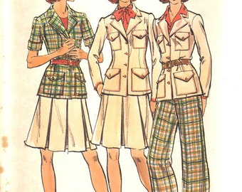 Vintage Butterick Pattern 3582, Size 12, Misses' Jacket, Skirt & Pants
