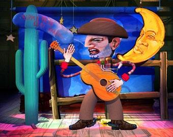 3D Digital Art. Photographic Print. Stage Show Cowboy