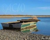 Green Apalachicola Oyster Boat in East Bay Florida (16 x 20 canvas)