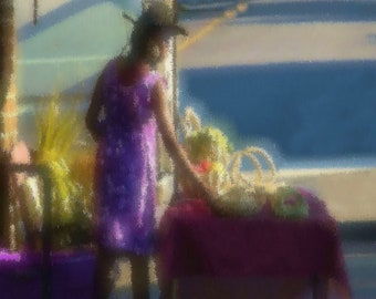 Lady in purple selling sweet grass baskets in Charleston, South Carolina (canvas)