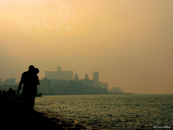 Malecon in  Havana, Cuba  with a couple walking at dusk(PR) (canvas)