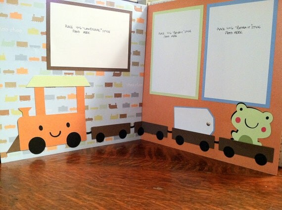 Choo Choo Boys Pre Made 12 x 12 Double Page Layout