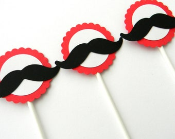 12 Mustache Cupcake Toppers - Red