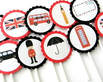 12 London Cupcake Toppers, London Theme, Going Away Party, First Birthday, England Toppers, London Party, Baby Shower, London Toppers