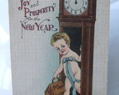 Antique Vintage New Years Postcard to Romeo with Antique Photo Picture Cabinet Card of said Romeo