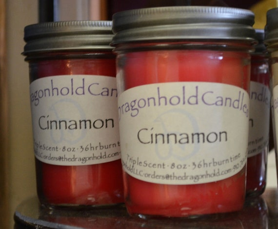 Cinnamon Candle Hand Poured Triple Scented Soy Paraffin
