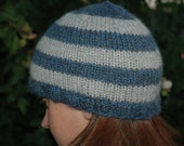 Grey and Blue Striped Alpaca Hat: Size Adult Small