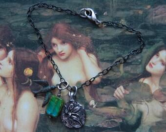 Magic Fairy Pixie Bird Green Patina Charms Bracelet Fine Gunmetal Chain Joy