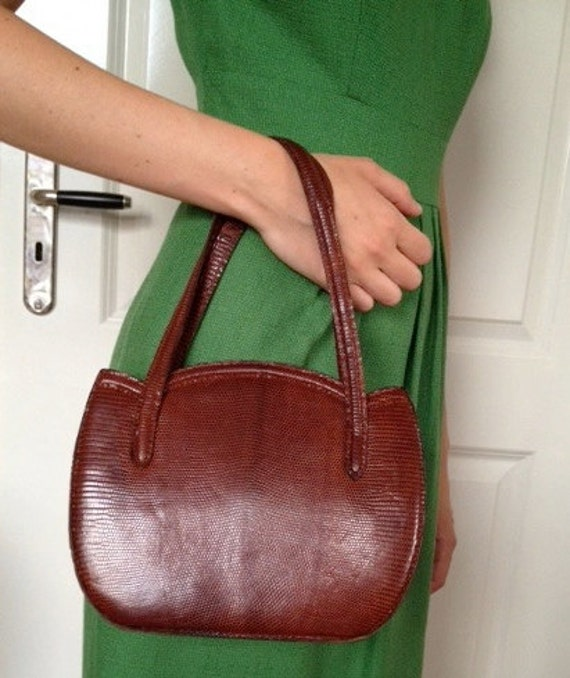 Vintage Leather Handbag with Snakeskin Pattern from 1940s Floral Retro