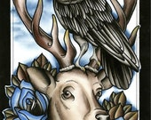 Crow perched on stag deer With Roses PRINT Tattoo art ink painting print