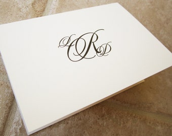 Simple Script Personalized Monogram Thank You Note