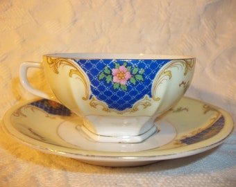 Vintage, Antique  Cup and Saucer. Made in Czechoslovakia,