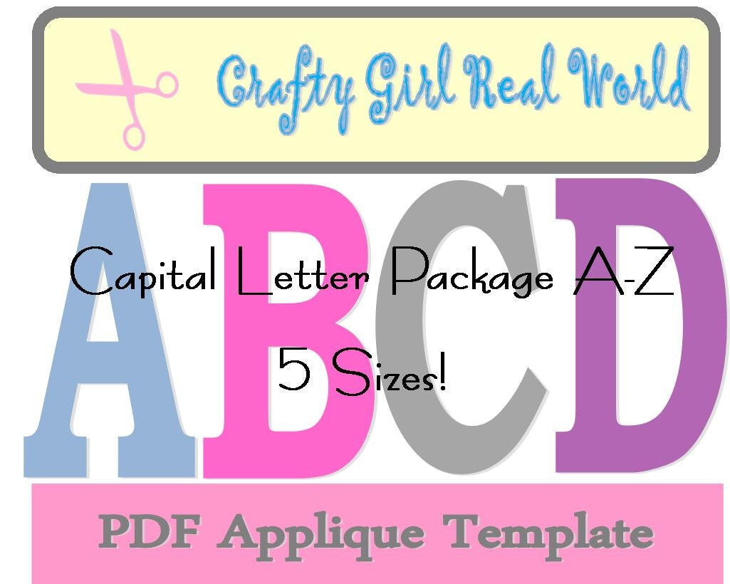 Capital letter applique template package by southernbabyclassics for Applique letters template