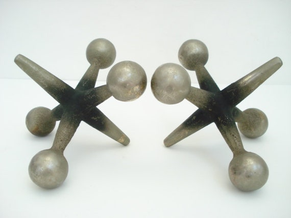 Mid Century Modern Cast Iron Jacks Jax Bookends Sculptures Curry Nelson Eames Era