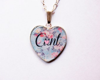 "Mature Content - C""nt On Retro Floral Fantasy Heart Cameo - Funny Bachelorette Gift - Mature Jewelry - Swearword Jewelry - Swear word -Adult"