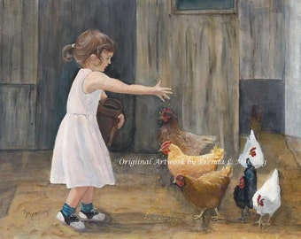 Grandma's Chickens16 x 20 canvas gallery wrapped print