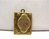 Vintage Gold Filled Locket Book Style Flower Design 9 x 14 mm  1.3 grams  #100