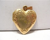 Vintage 14k Gold Filled Locket Heart MOM Colorized Scroll Design 18 x 20 mm  2.7 grams   #80