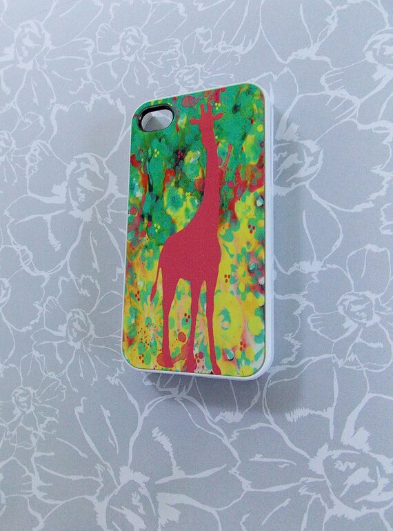 iPhone 4 / 4S Cell Phone Case Unique iPhone Cases Pink Watercolor Giraffe  Original Artwork