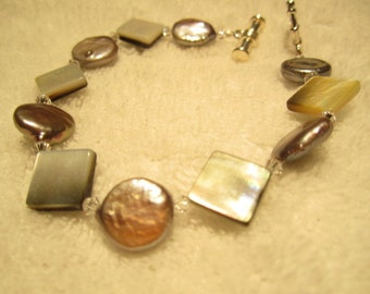 Coin Pearl Shell and Swarovski Crystal Beaded Necklace