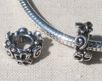 Butterfly Spiral European Style Spacer Charm Bead - Big Hole Bead