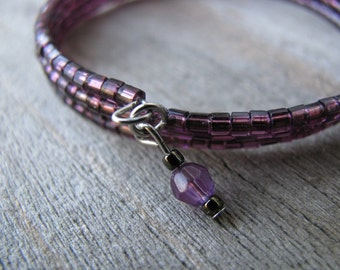 Upcycled Purple Beaded Cuff Bracelet, One Of A Kind, Eco-Friendly Jewelry, Amethyst, Hematite, Vintage Glass Beads, Memory Wire, Beaded Cuff