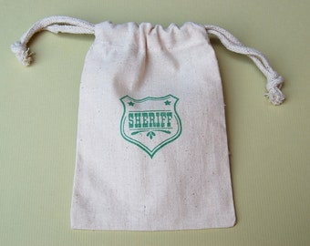 Sheriff Badge Muslin Bags / Set of 10 / Birthday Party Favors