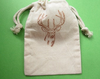 Buck Deer Muslin Bags / Set Of 10 / Hunting Party / Birthday party / Wildlife / Nature